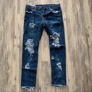 Men's Ripped Distressed Abercrombie & Fitch Jeans